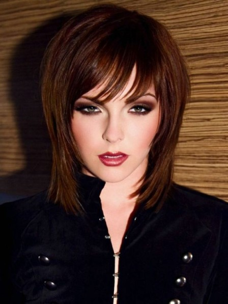 Full Lace Synthetic Celebrity Medium Length Wigs On Sale