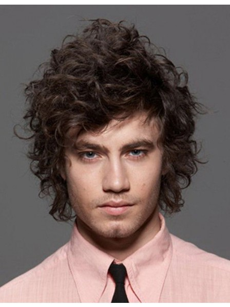 Fuzzy Black Curly Synthetic Hair Wigs Men