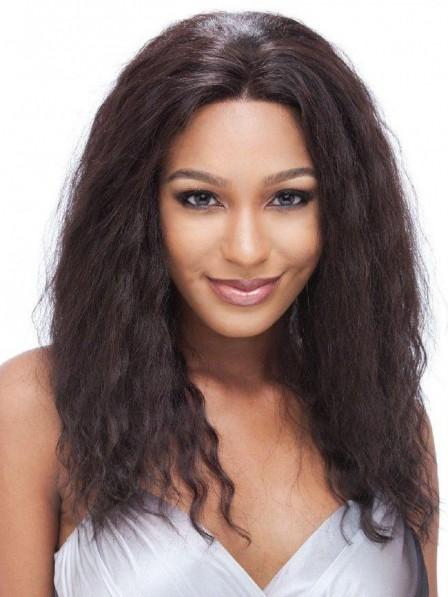 Generous Yaki Straight medium brown human hair wigs