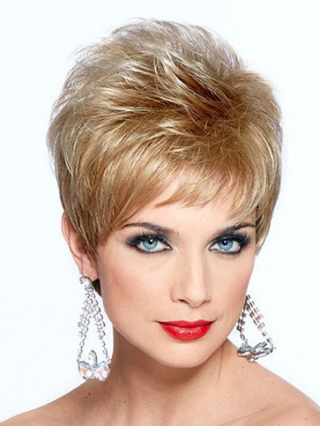 Gorgeous 6 inches Joan Collins Short Blonde Synthetic Hair Wig With Bangs