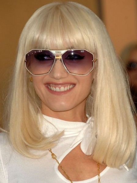 Gwen Stefani Shoulder Length Blonde Bob Cut Wig with Bangs