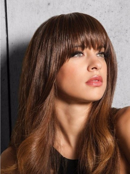 Heat-Friendly Synthetic Hair Brown Clip in Bangs