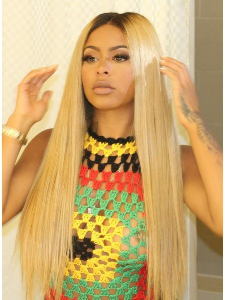 Honey Blonde Straight Human Hair Lace Wigs