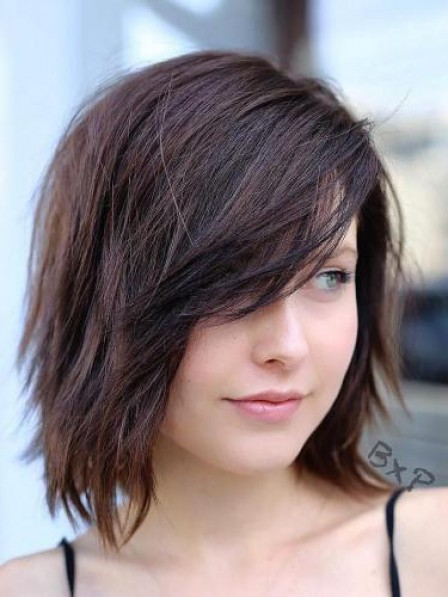 Hot Sale Full Lace Straight Human Hair Bob Wigs With Side Bangs
