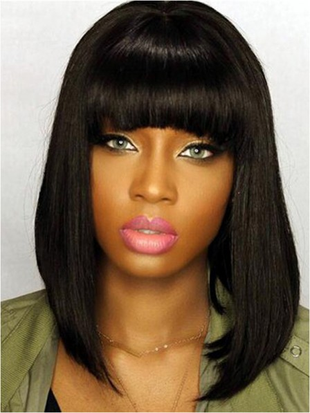 Human hair indian remy medium bob wigs with bangs