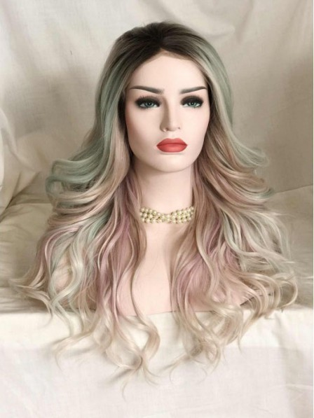 Ivy Ombre Pink Green Lace Front Wig