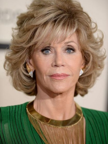 Jane Fonda Blonde Synthetic Hair Wig For Old Ladies