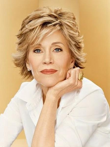 Jane Fonda Short Blonde Synthetic Hair Wig
