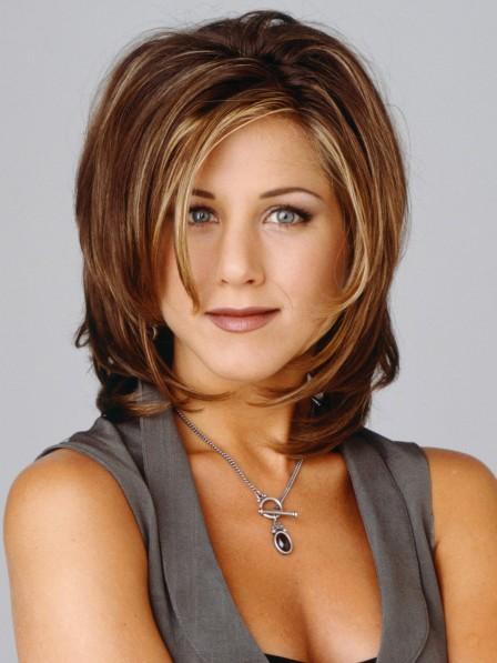 Jennifer Aniston Shoulder Length Light Brown Human Hair Capless Wig