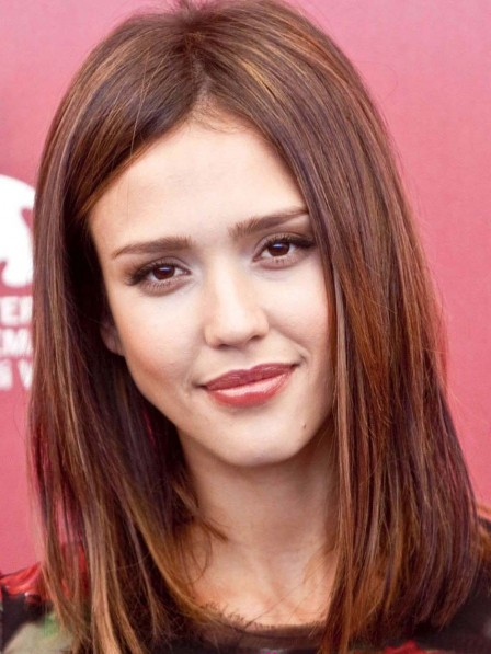 Jessica Alba Light Brown Shoulder Length Straight Human Hair Wig with Lace Front