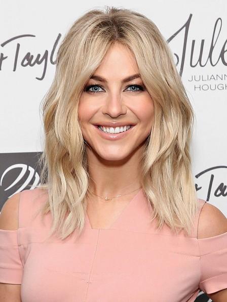 Julianne Hough Shoulder Length Lace Front Human Hair Blonde Wig