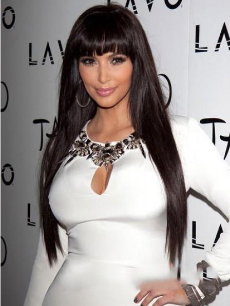 Kim Kardashian Hair Style layered straight black hair wig with bangs