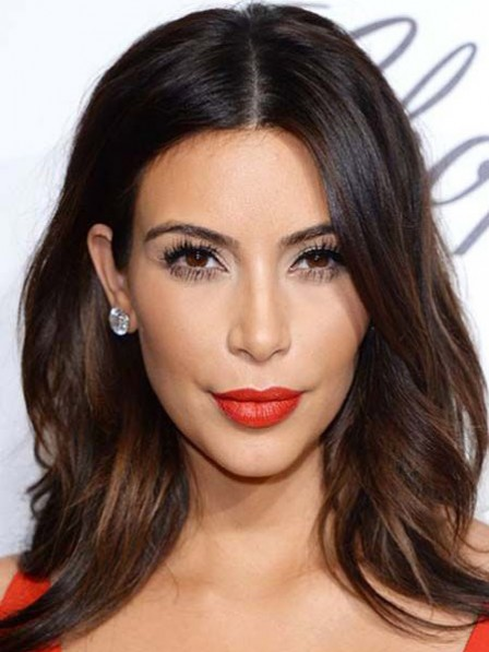 Kim Kardashian Long Loose Wave Lace Front Human Hair Wigs