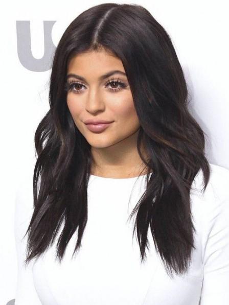 Kylie Jenner Wavy Dark Brown Loose Waves Human Hair Wig Full Lace