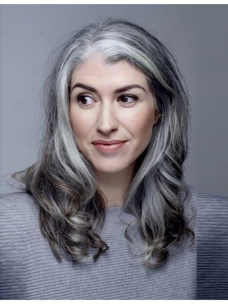 Lace Front Long Wavy Grey Hair Wig Rewigs Co Uk
