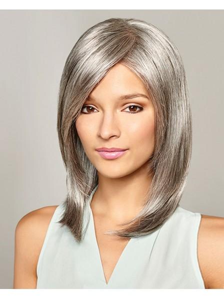 Lace Front Mono Top Grey Bob Wig