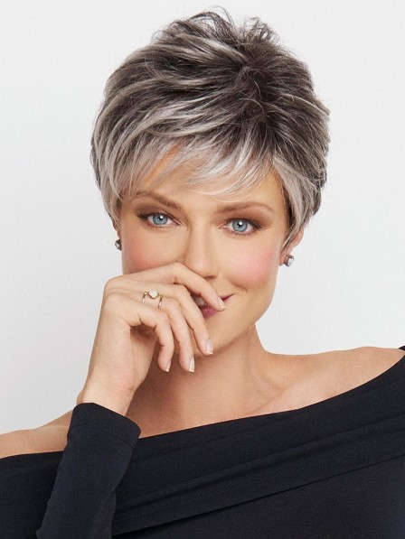 Lace Front Mono Top Short Boycut Grey Hair Wig