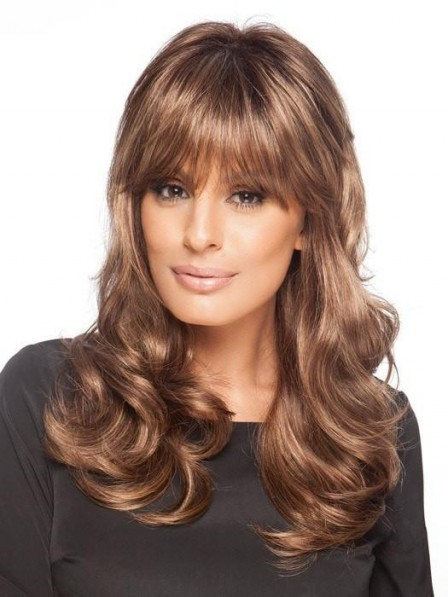 Lace Front Monofilament Long Wavy Wig With Full Bangs