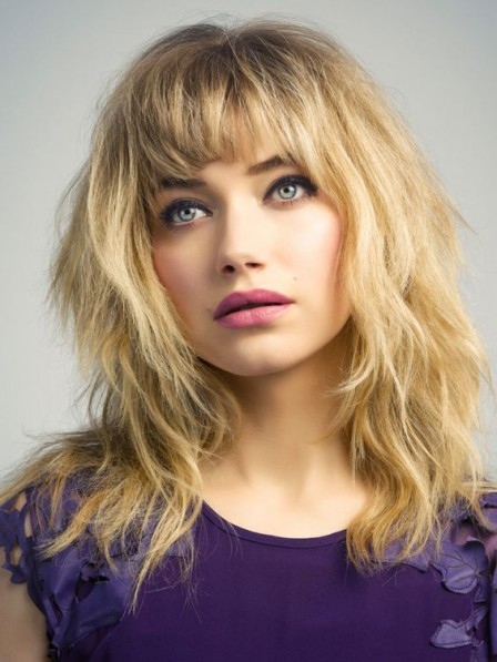 Ladies Long Indian Remy Human Hair Celebrity Wigs With Bangs