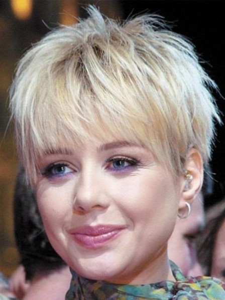 Layered Capless Human Hair Celebrity Short Wigs With Bangs