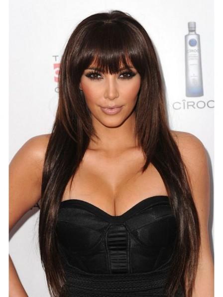Layered Kim Kardashian's long straight hair long wigs with bangs
