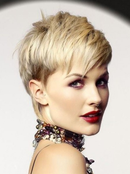 Layered Lace Front Pixie Cut Synthetic Celebrity Wigs With Bangs