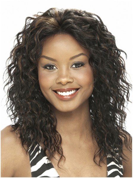 Layered water wavy 100% human hair lace front wigs without bangs