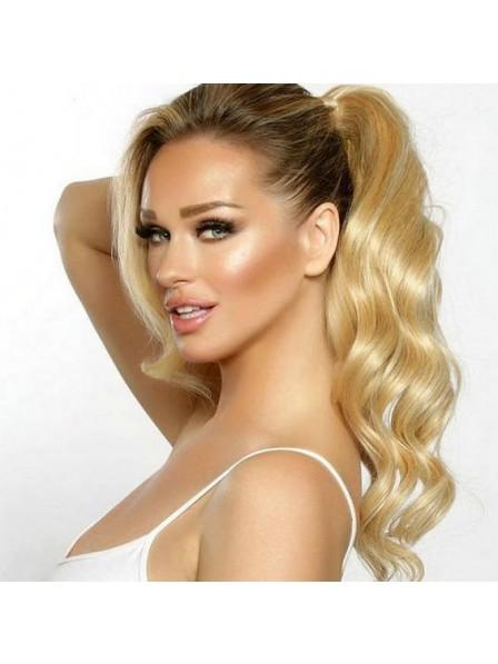 Long Blonde Human Hair Clip Ponytail