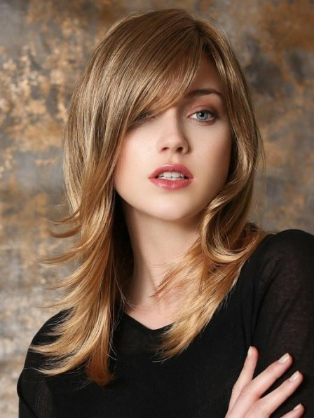 Long Blonde Lace Front Wig with Bangs