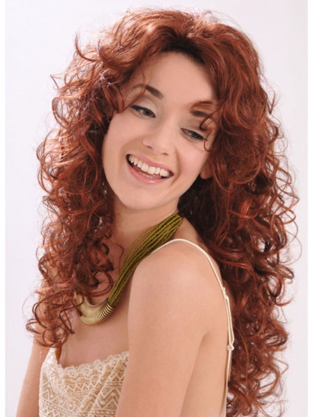 Long Curly Synthetic Red 3/4 Cap Wig