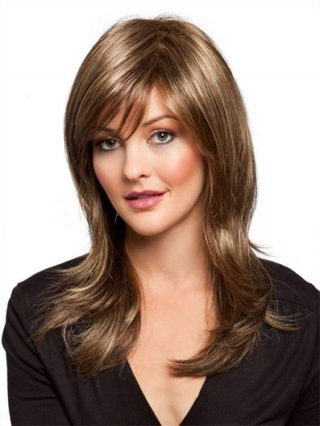 Long Layered Light Brown Wig For Women with Side Bangs