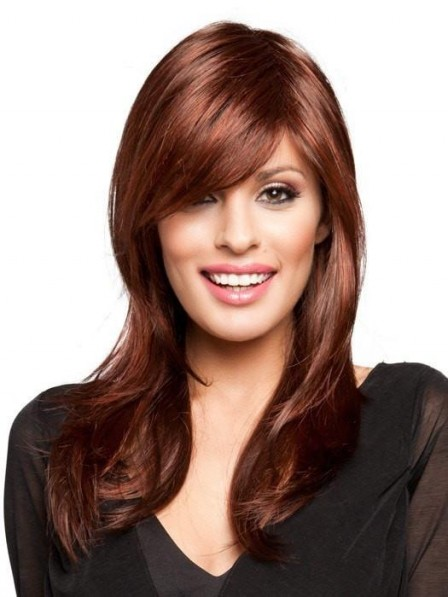 Long Layered Red Wig For Women with Side Bangs