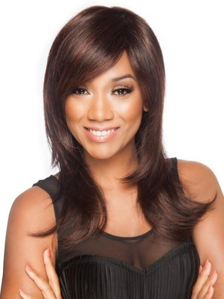 Long Layered Red Wig For Women with Side Bangs For Black Women