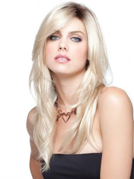 Long Soft Layers Lace Front Mono Top Women Light Blonde Wig