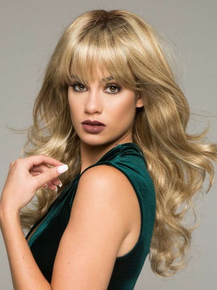 Long Soft Wave Women Wig with Full Bangs