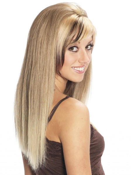 Long Straight Human Hair Blonde 3/4 Cap Wig