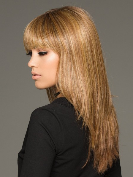 Long Straight Human Hair Blonde Wig Modern Hairstyle with A Blunt Bang