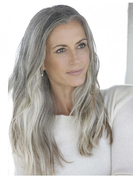 Long Straight Lace Front Silver Grey Hair Wig Rewigs Co Uk