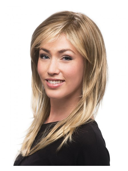 Long Straight Layered Lace Front Blonde Wig