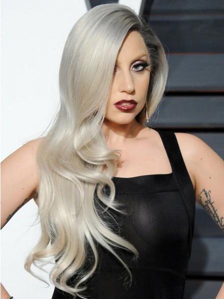 Long Wavy Heat Friendly Synthetic Hair Grey Wigs Full Lace
