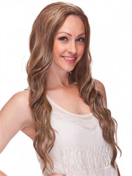 Long Wavy Topper Hairpiece Synthetic 3/4 Wig