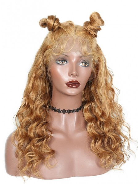 Loose Wave Honey Blond Color #27 Lace Frontal Wig Pre Plucked With Baby Hair 180% Density