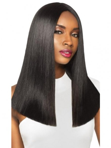Lustrous Straight black wigs lace front 100% human hair