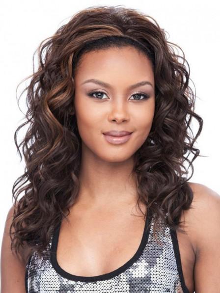 Medium Curly Synthetic Half Wig - Rewigs