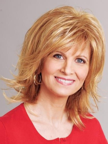 Medium Length Synthetic Blonde Layered Hair Wig