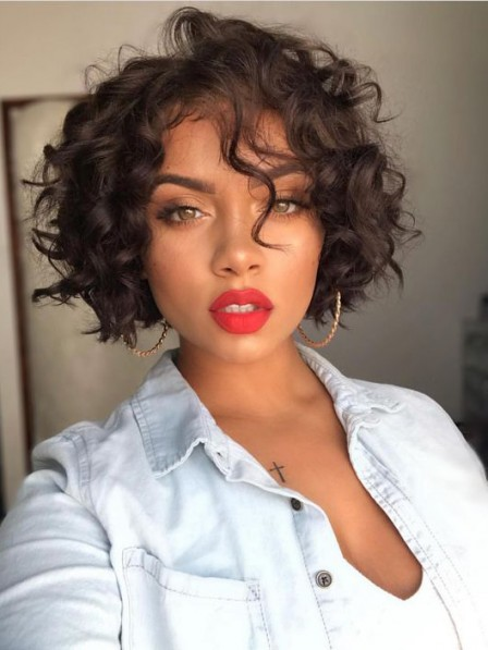 Messy chin-length curly women capless wigs