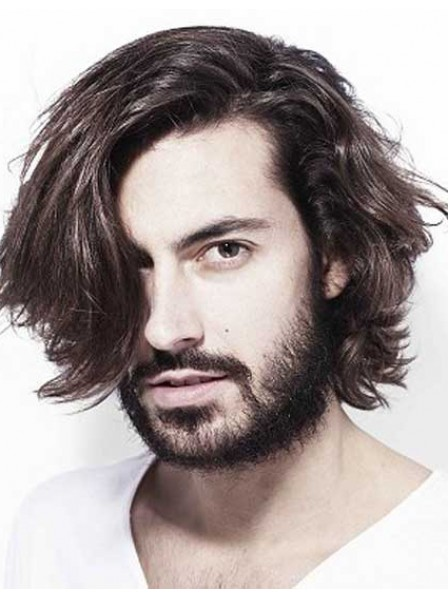 Messy Wavy Lace Front Hairstyle Men Hair Wigs