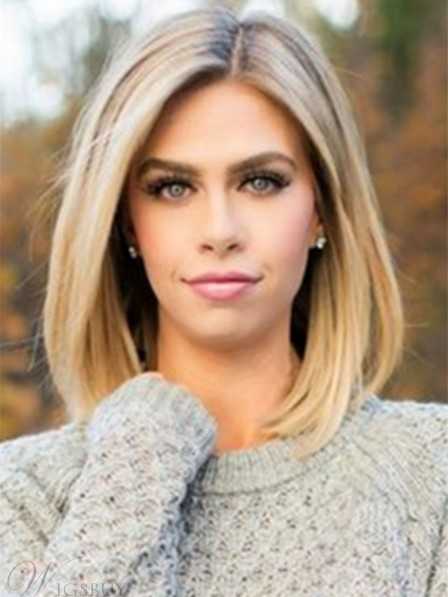 Mid-length Straight Blonde Full Lace Human Hair Wig