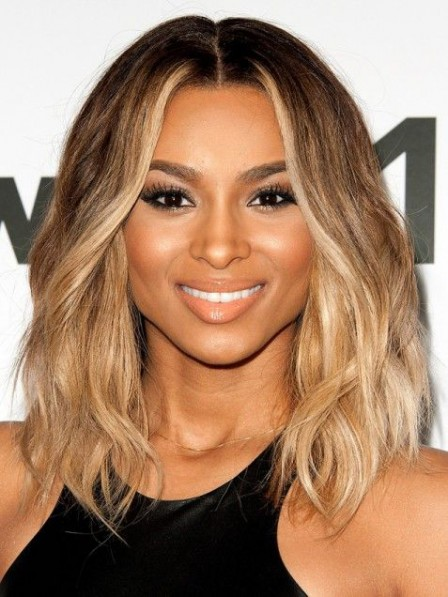Middle part blonde wavy human hair wigs for black women