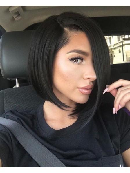 Modern Black Medium Bob Style Synthetic Hair Wig